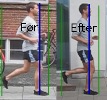 Før-efter landingsbillede efter løbeundervisning.