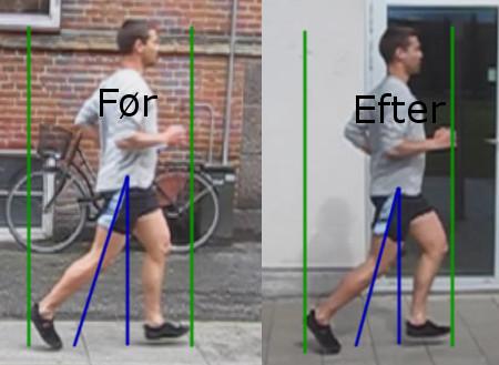 Før-efter løft-billede i forbindelse med løbeundervisning.