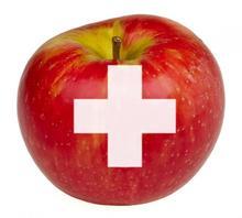 Mad som medicin. Billede af et æble med et hvidt medicinkors.